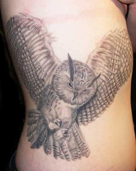 owl tattoo ribs 56 best flying owl tattoos