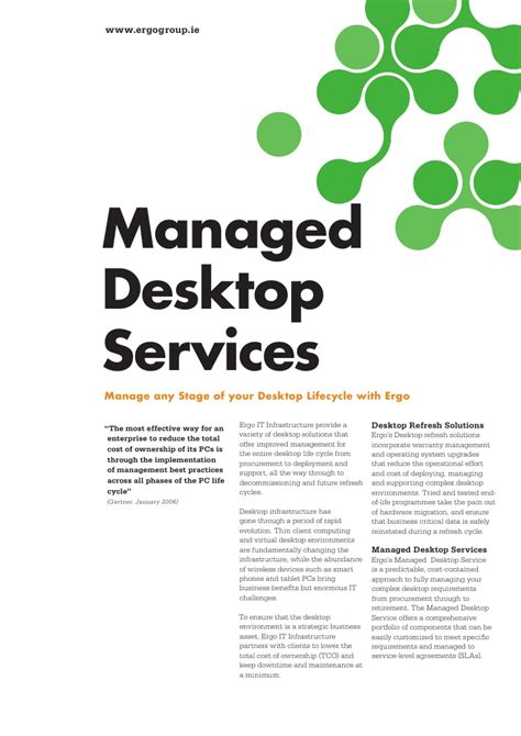 it services brochure template ergo managed desktop services brochure