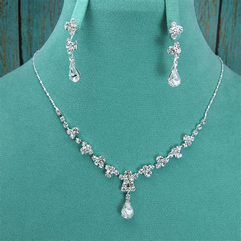 rhinestone jewelry set wedding necklace set bridal