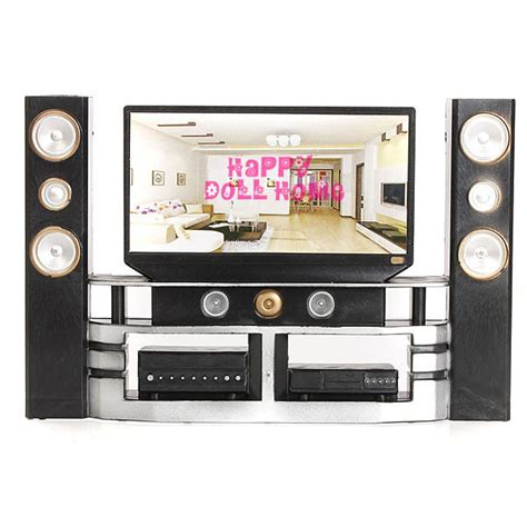 dolls house tv new arrval mini hi fi 1 6 tv home theater cabinet set combo for barbie dolls jpg