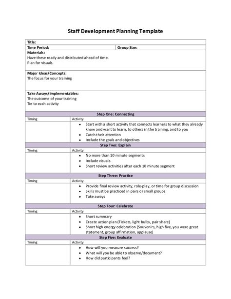 Staff Planning Template by Staff Development Planning Template With Suggestions
