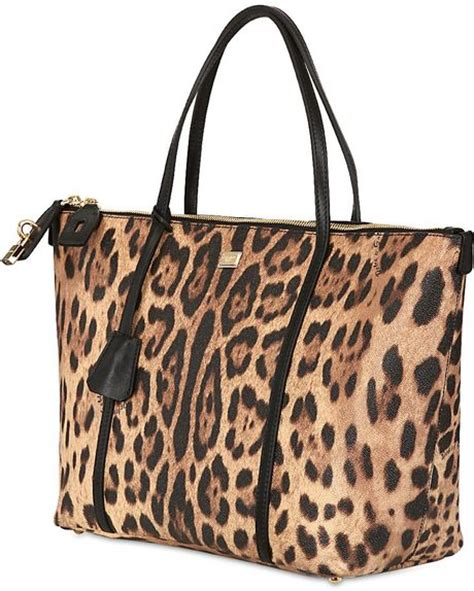 Dg Dolce And Gabbana Ocelot Print Tote by Dolce Gabbana Miss Escape Leopard Print Tote Bag In