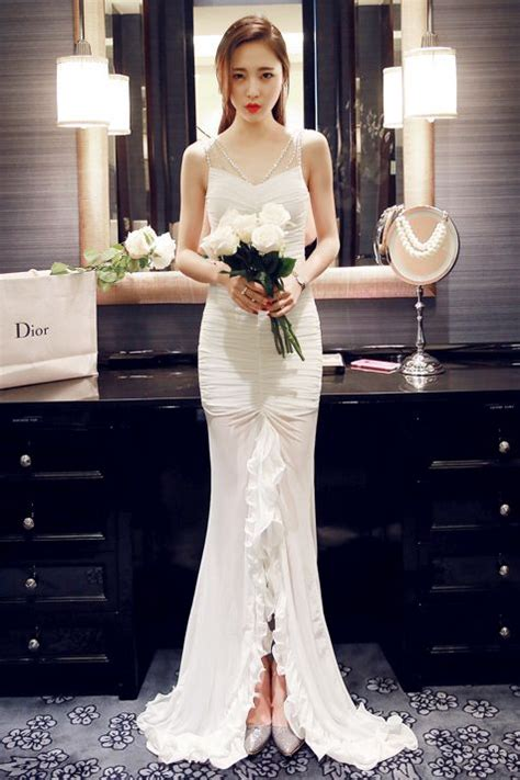 Dress Import Merk R J Story white dress baju pre wedding baju pesta korea