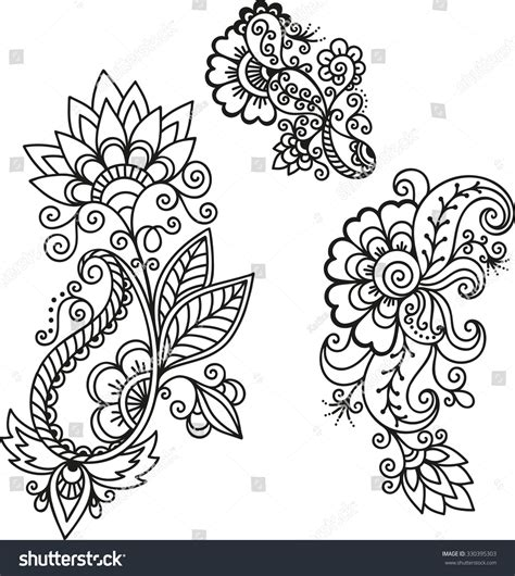 henna tattoo design templates henna flower templatemehndi stock vector 330395303