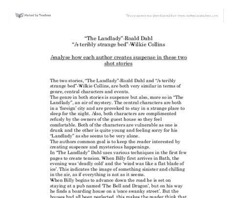 The Landlady By Roald Dahl Essay by The Landlady Roald Dahl A Teribly Strange Bed Wilkie Collins Analyse How Each Author