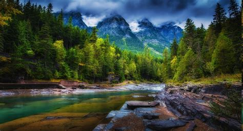mountain clouds forest river trees spring green nature