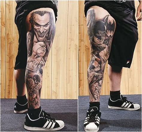 joker foot tattoo 24 black and white leg tattoos
