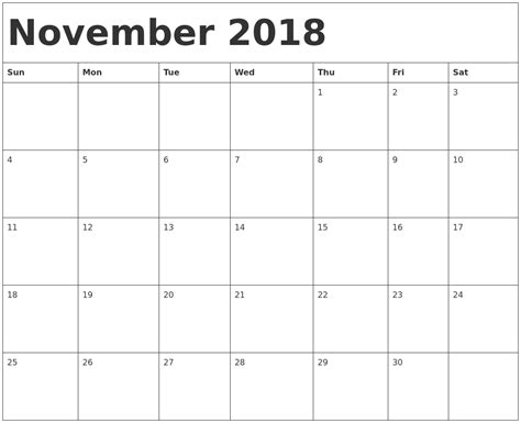printable november planner september 2018 calendar