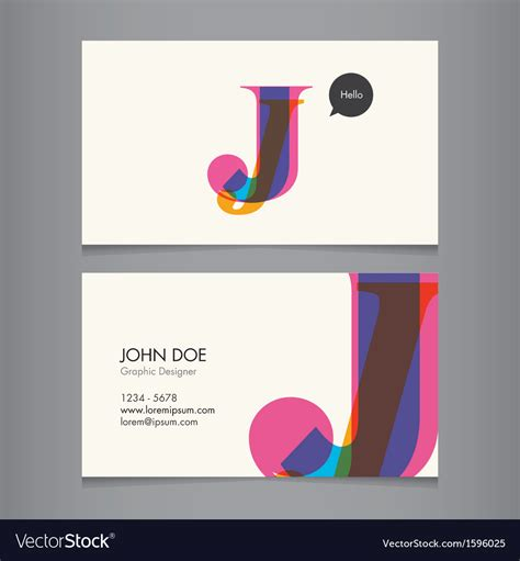 business card template us letter svg business card template letter j royalty free vector image
