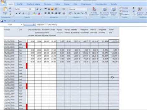 formato horas extras horas mensuales plantilla excel control horas trabajadas