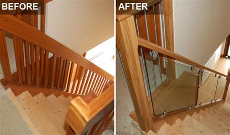 Banister Remodel Staircase Renovations Scotland Glass Staircase Before After