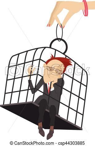 donna in gabbia donna prese triste mano gabbia uomo vettore cerca
