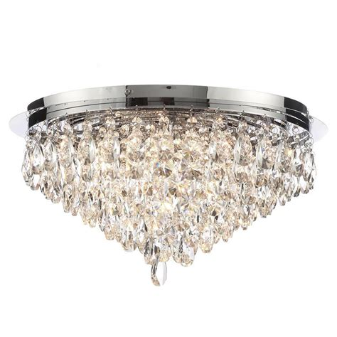 Chrome Chandeliers Clearance Flush Ceiling Light Crystal 6 Light Chrome From Litecraft