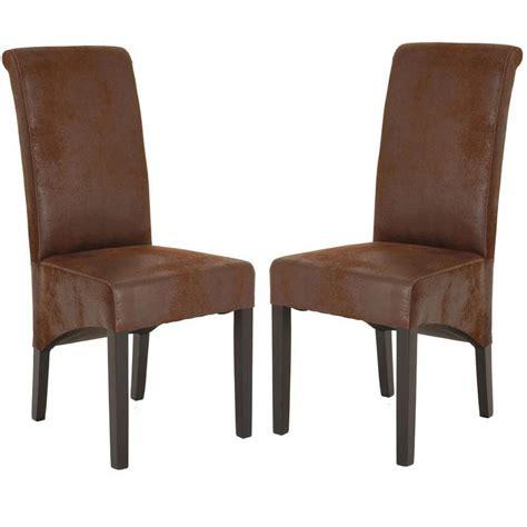 chaise de salle 224 manger en microfibre coloris marron zia