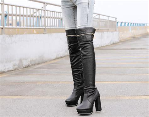 Best Seller Platform Boots Side Zipp Cm15 Hitam Termurah high quality best selling black color platform chunky heel boot toe side zipper zip add
