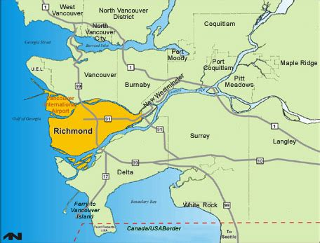 richmond map city of richmond bc neighbouring cities
