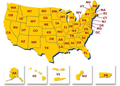 map of state of usa u s department of labor office of workers compensation