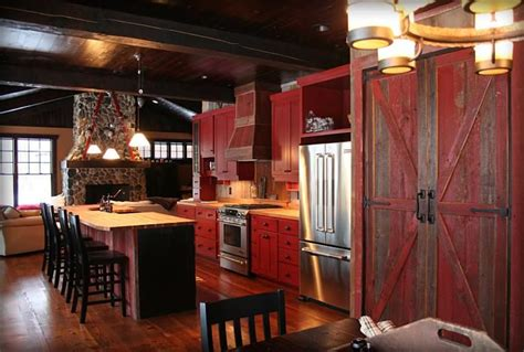 rustic red kitchen cabinets red cabinets home decor pinterest