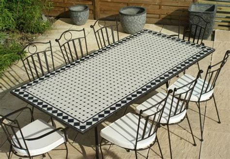table jardin mosaique rectangle 200cm c 233 ramique blanche et ses losanges en ardoise table