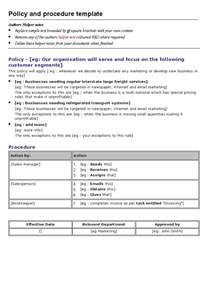 policy procedure manual template free policies and procedures template cyberuse