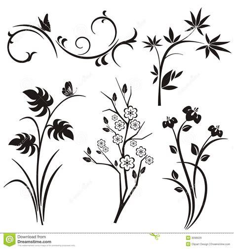 fiori stilizzati giapponesi serie giapponese di disegno floreale illustrazione