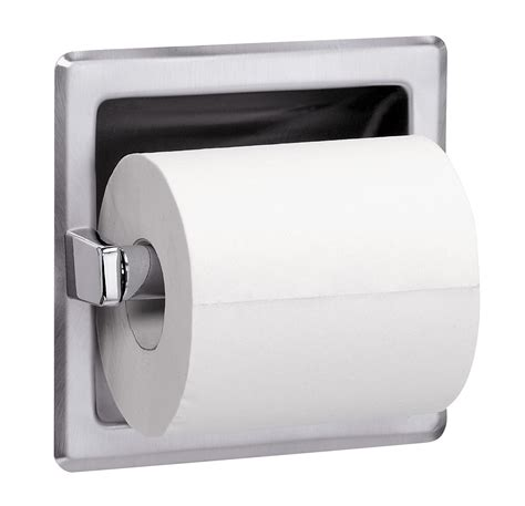 recessed single roll toilet tissue dispenser with spare