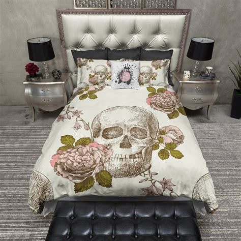 vintage style skull rose duvet bedding sets ink and rags