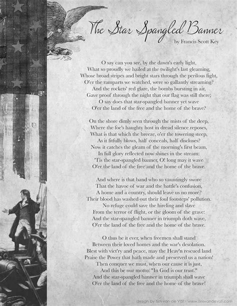 star spangled banner lyrics tims printables