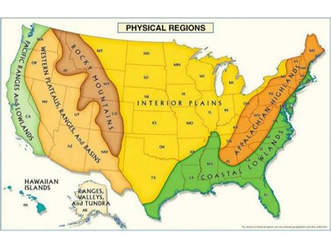 us map with states and geographical features us geography