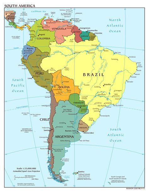 south america political map with major cities detailed political map of south america with capitals and