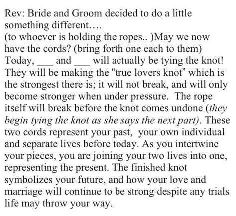 actual quot tying the knot quot ceremony wording wedding ideas