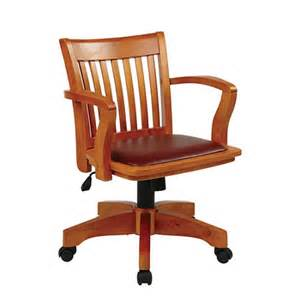Wooden Desk Chairs Uk Deluxe Wood Bankers Office Chair With Arms Faux Leather