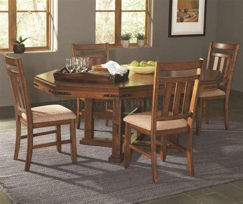 medium oak finish traditional pc dining table set