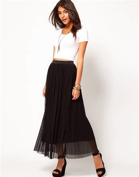 Pleated Maxi Mesh Skirt object moved