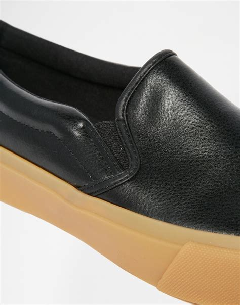 Kickers Gum Sole Black asos slip on plimsolls in black with gum sole in black for