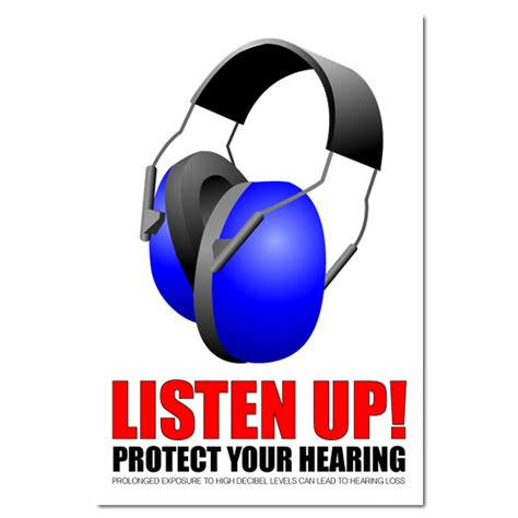 ai sp120   listen up protect your hearing safety poster