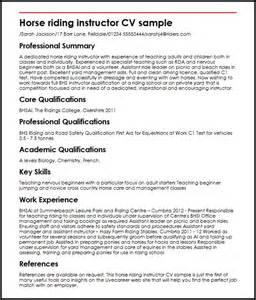Equine Specialist Sle Resume instructor cv sle myperfectcv