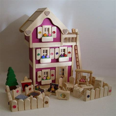 Handmade Dolls House Furniture - wooden doll house deluxe 3 storey dollhouse set