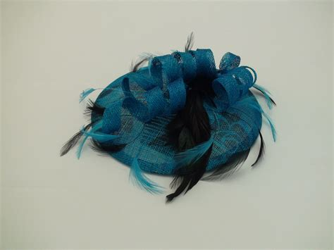 Handmade Fascinator - moji hats handmade fascinator blue sinamay hat