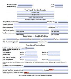 tow truck receipt template towing receipt template free word templates