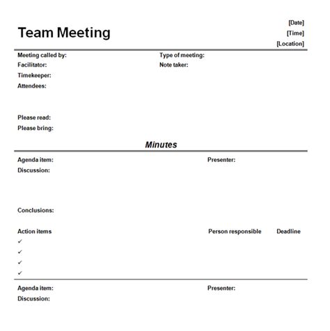 meeting template informal meeting minutes template
