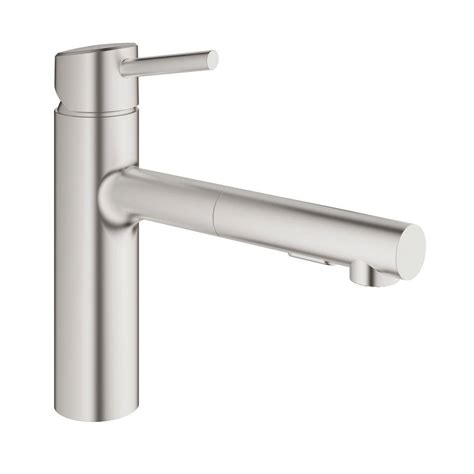 grohe pull out kitchen faucet grohe concetto single handle pull out sprayer kitchen faucet in supersteel infinity finish