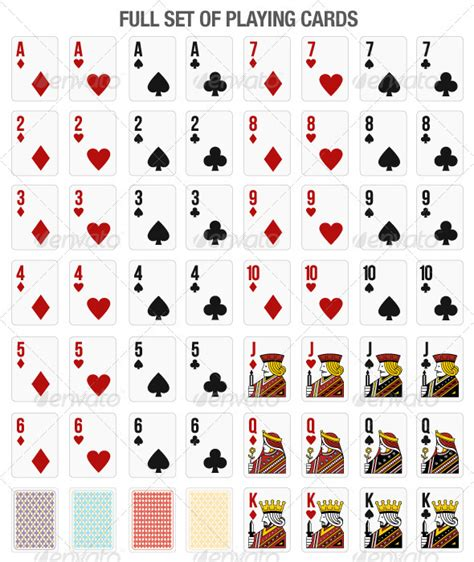 printable 52 deck of cards set of 52 playing cards for online gaming graphicriver