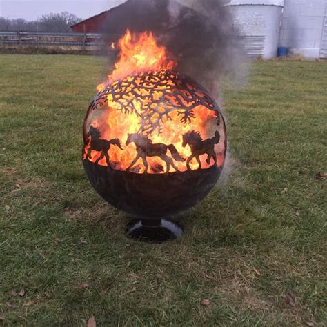 sphere pit pit sphere globe with horses by tomsfirepits on etsy
