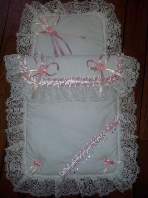 stunning romany pink white pram set with lace satin