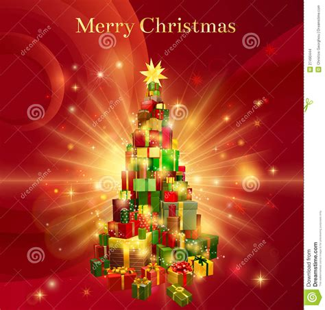 red merry christmas gift tree design stock vector illustration  decoration design