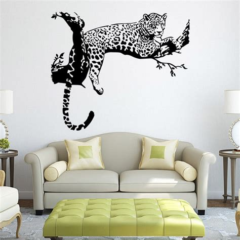 living room wall decals cute tiger leopard waterproof wall sticker home decor