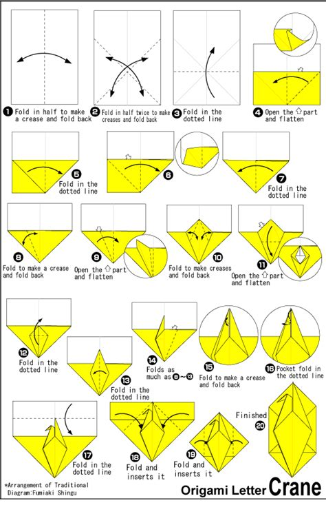 Origami Club Crane - diagram