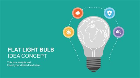 flat light bulb idea concept for powerpoint slidemodel