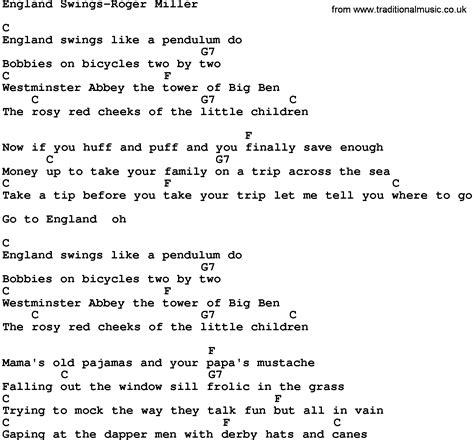 england swings lyrics country music england swings roger miller lyrics and chords